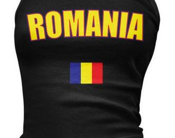Romania Ladies Juniors Tank Top, Romanian Pride, Bucharest, Ladies Juniors Romania Soccer Tank Tops AMD_ROM_08