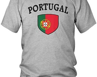 Portugal Country Flag Crest Men's T-Shirt, Portuguese Flag, Pride, Portuguese Republic, Men's Portugal Soccer Shirts AMD_POR_03