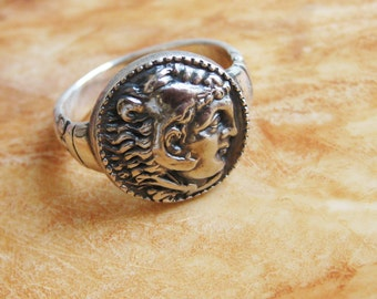 Men's silver ring, Sterling silver ring, Silver ring for mens, alexander ring, signet ring, coin ring, silver ring, antique coin ring,Signet