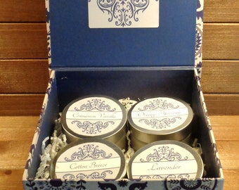 4 Pure beeswax scented  8oz candle's in a blue & white gift box