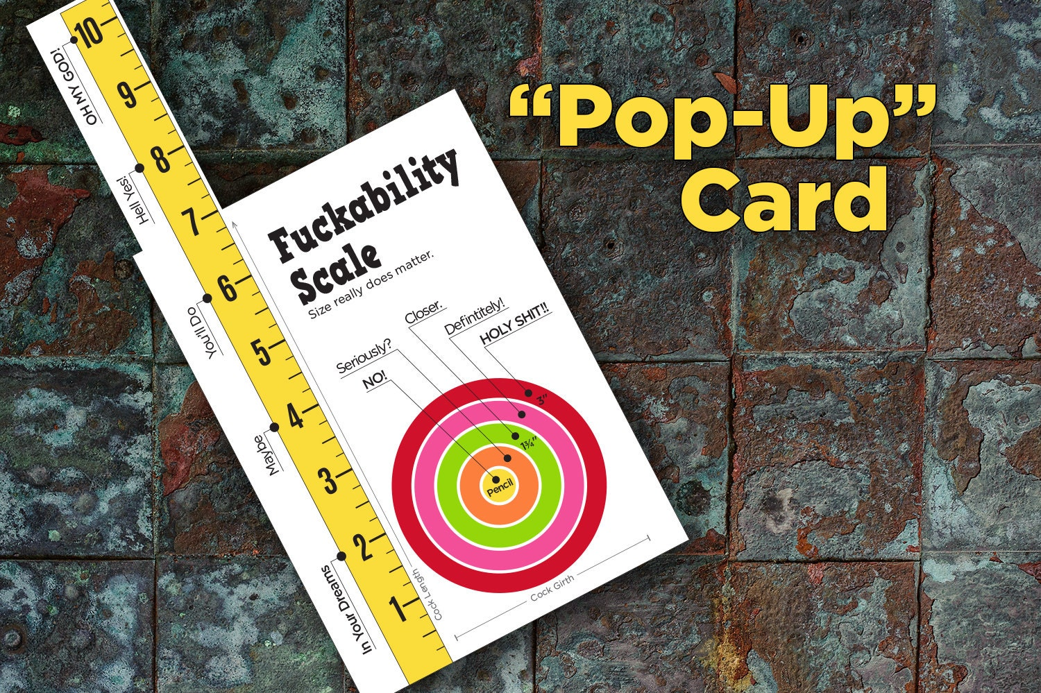 Fuckability Scale Pop-Up Penis Ruler STR-020 Funny Naughty
