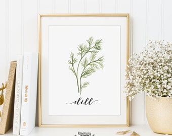 Dill Printable, Kitchen Art, Herb Printable, Kitchen Printable, Herb Wall Art, 5x7 and 8x10 Printable, Instant Download