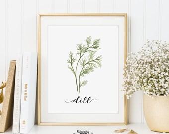 Dill Printable, Kitchen Art, Herb Printable, Kitchen Printable, Herb Wall Art, 5x7 and 8x10 Printable, Instant Download