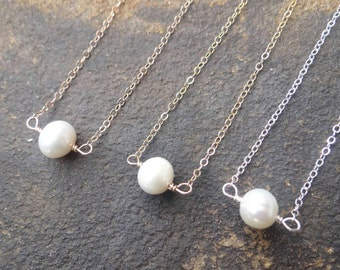 White Pearl Necklace Bridal Necklace Minimalist Pearl Necklace Freshwater Pearl