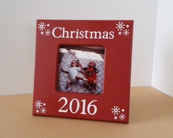 Christmas picture frame, red picture frame, Christmas gift, snow flake picture frame, Christmas Present, 4 x 6 picture frame, 3 x 3 frame