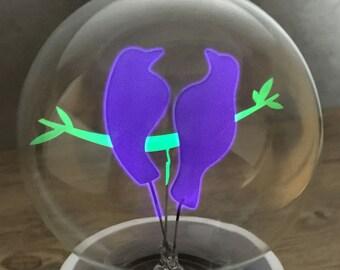 DarkSteve - Bird Couple - Designer Light Bulb - Vintage Style G80 E26 or E27 Screw Filament Decorative Light Bulbs  #1 Unique Gift