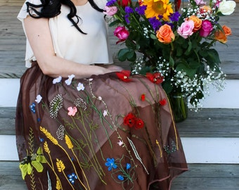 Flower Meadow Embroidered Skirt