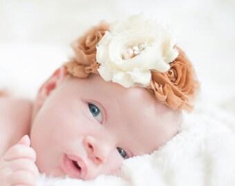 Baby headband,Newborn Headband, Baby girl Headband,Shabby chic Headband, Baby Headbands,Headband,Ivory Headband, Kids Headband,Hair Bows