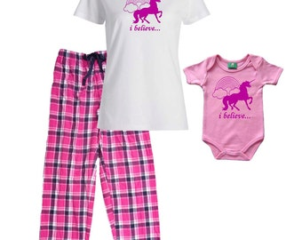 Mommy Pajamas and Matching and Baby Onesie (sold Separately)- Unicorns and Rainbows - FREE Ship, Great New Mom Mother's Day Gift Idea (841)