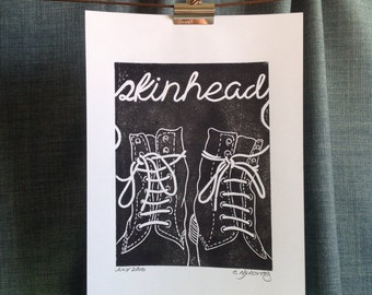 A4, Hand pulled, unique, Skinhead, Contemporary Art, Lino Print, Dr Marten Boots, Laces, Skinbyrd, Skin Girl, signed, mono, minimalist, DMs