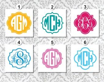 CUSTOM MONOGRAM DECAL, Monogram personalized, Circle Monogram, Monogram with border, Vinyl Decal, Car Decal, Laptop Decal, Color Monogram