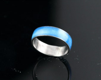 Silver Blue Band Ring Size 5