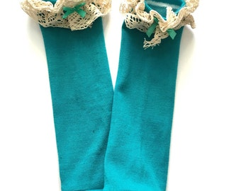 Teal lace baby leg warmers