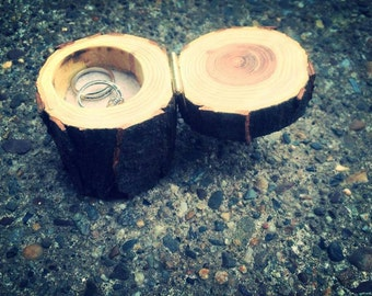Black Walnut Wood Wedding Ring Box Rustic Wedding Wood Burned