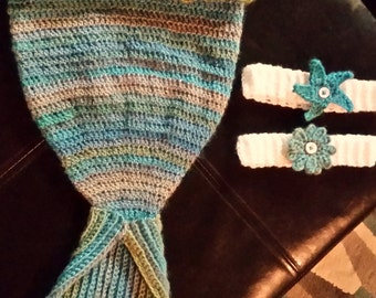 Infant/baby Mermaid cocoon and 2 head bands