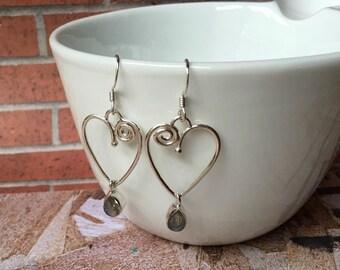 Eternal heart Labradorite  Earrings