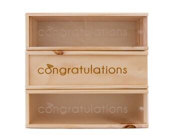 Wooden Wine Box (single) - Congratulations