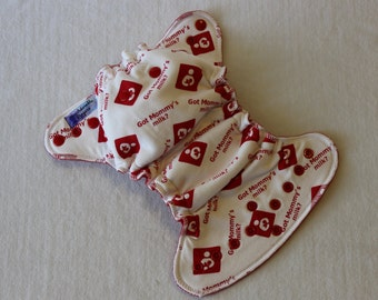 Cloth Diaper, Newborn, Hybrid Fitted Diaper, Breastfeeding White with Red Inner, Wind Pro Hybrid Diaper, Cloth Baby Diaper