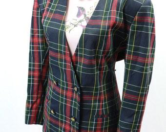 Vintage Navy Red Tartan Boyfriend Jacket Size L