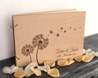 Wedding Guest Book, Guestbook, Rustic Wedding Guest Book, Rustic Guestbook, Custom Guest Book, Dandelion Laser Engraved, Wedding Gift