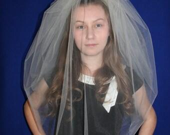 2-Tier BUBBLE Veil, wedding veil, bridal veil, accessories, blusher veil, ivory, champagne, diamond white, blush color, short veil