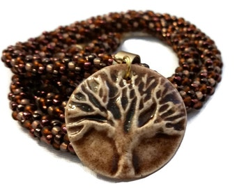 Tree Of Life Ceramic Pendant On A Kumihimo Necklace