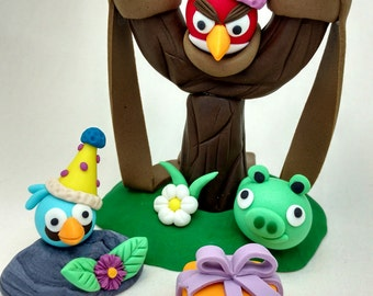 Angry Birds and Naughty Pig Slingshot Birthday Party Cake Edible Topper