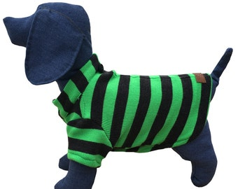 Jersey pet Green striped, Black and Green Dog Sweater, Dog clothing