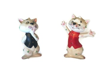 Cats in Vests Salt and Pepper Shakers