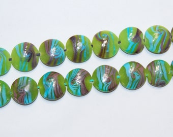 2.0mm Large Hole Lampwork Glass Coin Loose Beads Size 18mm. 10 Beads on the strand.