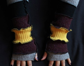 Iron Man Fingerless Gloves, Upcycled/Recycled Sweaters, Arm Warmers, Katwise Style, Boho, Writer's Gloves, OOAK