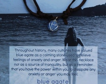 Blue Agate Silver Wrapped Chocolate Deerskin Lace Necklace