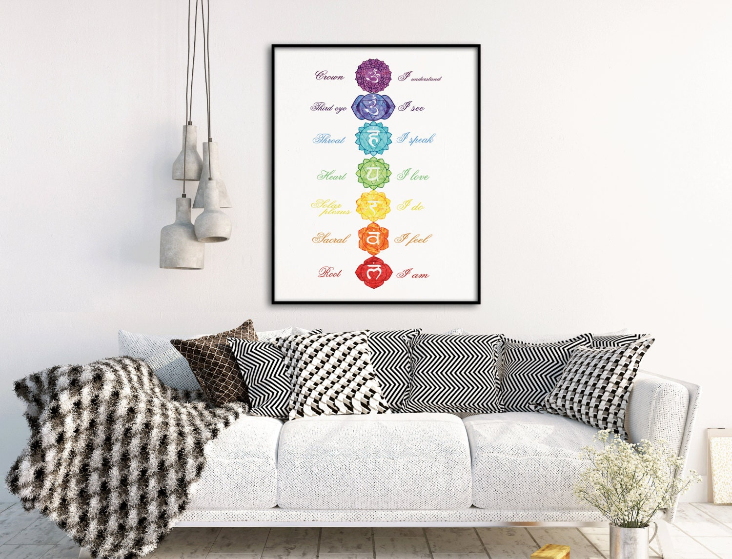 Meditation Decor Inspiration Chakra Meditation Wall Art Chakra Print Yoga Studio Decor Design Ideas