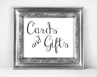 Cards And Gifts, Gift Table Sign, Wedding Sign, Bridal Shower Gifts Sign, Instant Download, 4x6, 5x7, 8x10, 8.5x11, 11x14, PDF