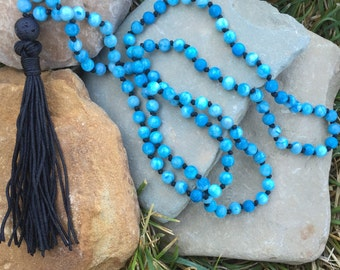 Blue 108 Mala Beads, Diffuser Necklace