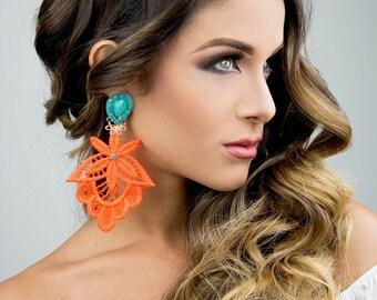 Neon Orange, Chandelier Earrings, Long Dangle Earrings, Big Lace Earrings, Lace Jewelry, Women Jewelry, Tatted, Boho Chic, Bohemian Jewelry