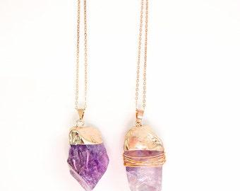 Amethyst Gemstone Necklace // amethyst stone, gem necklace, purple gemstone