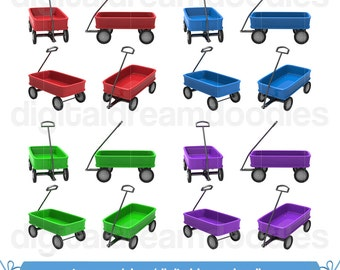 Wagon Clipart, Toy Wagon Clip Art, Pull Cart Picture, Wheel Wagon Image, Classic Wagon Graphic, Kid Clipart, Toy Scrapbook Digital Download