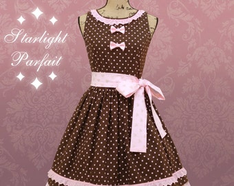 Cute Vintage Inspired Dress | Pink and Chocolate | Made to order | Read description for sizes|