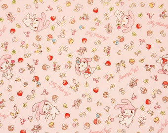 """My Melody Character Fabric made in Japan, FQ 45cm by 53cm or 18"""" by 21"""""""