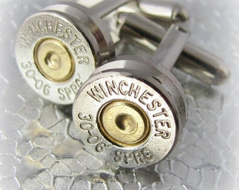 30-06 Winchester Bullet Cufflinks Silver Nickel Gold Brass Primer Jeweler Handmade In USA