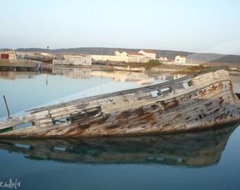 Instant download! Old sunken Ship in Port