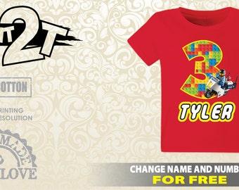 LEGO Police Bike Custom  Birthday T-Shirt, Custom Name and Number 1st 2nd 3rd 4th 5th 6th 7th Birthday lego birthday shirt