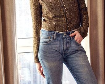 Gold Studded Tweed Jacket
