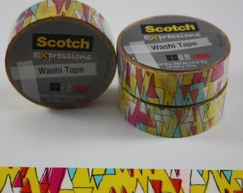 Washi Tape Yellow Abstract Scotch Expressions 3M Paper Tape Craft Tape Removable Tape Decorative tape  New Colors Added
