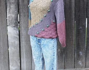 Womens Fall / Winter Sweater, Multi Color, Pom Poms, Pullover Color Block Sweater Size Medium