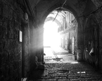 shadows, tunnel, jerusalem, old city, israel, alley, black and white, photograph, photo, print, modern, minimalist, abstract, photography