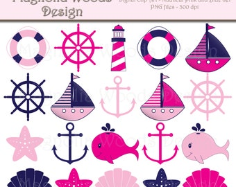 Nautical Clip Art, Pink and Navy Blue Nautical Clip Art, Sailboat Clip Art, Nautical Images, Beach Clip Art, Small Commercial Use Clip Art