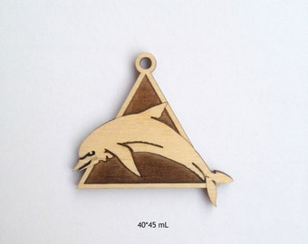 Laser engraved DOLPHINE wood pendant / Wood jewelry / Dolphine jewelry / Decorating ideas / Laser cut wood / Wood Charms / Dolphine charms