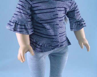 18 Inch Doll Clothes - Leggings and Tunic Outfit Gray Jersey Knit Ruffles for American Girl or other 18 inch Doll